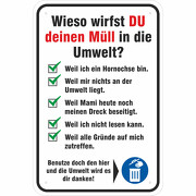 Schild oder Aufkleber Müll abladen verboten Papierkorb benutzen Fun