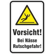 Schild Vorsicht Achtung bei Nässe Rutschgefahr 3 mm Aluverbund