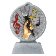 Pokal mit 3D Motiv Gesang Singen Superstar Mikrofon Serie Ronny 10,5 cm hoch