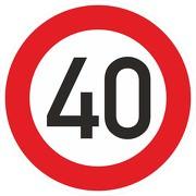 Schild Aufkleber Zulässige Höchstgeschwindigkeit 40 km/h (STVO Zeichen 274-54) RA1