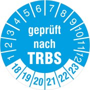 """""""geprüft nach TRBS"""" Prüfetiketten / Prüfplaketten 30 mm rund 2018-23"""