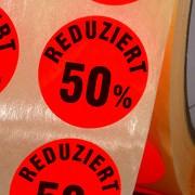 Etiketten Reduziert 50% Haftpapier 30 mm rund leuchtend rot