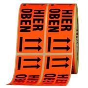 Etiketten Hier oben /nicht stürzen Haftpapier 150 x 50 mm leuchtend rot