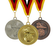 Medaille Fußball 70 mm extra groß und schwer gold silber bronze auch im Set inklusive Band