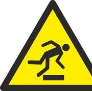 Aufkleber Warnung vor Hindernissen am Boden W007