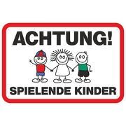 """Hinweisschild """"Achtung spielende Kinder 2""""  3mm Aluminium-Verbundmaterial"""