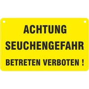 Achtung Seuchengefahr Weidezaunschild Schild 20x12 cm Weidezaun