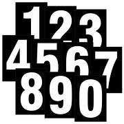 Zahlen weiß auf schwarz wetterfest als Aufkleber Klebezahlen Regalbeschriftung 80 mm