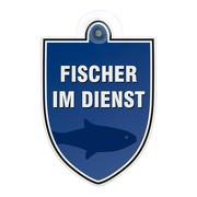 Schild Autoschild Fischer im Dienst mit Saugnapf, 2mm PVC wetterfest 100 x 120 mm Saugnapfschild