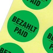 Etiketten bezahlt / paid Haftpapier 30 mm rund kräftig grün