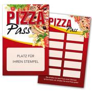 Pizza Pass / Bonuskarte Pizza / Treuekarte, Gutschein mit Stempelfeld