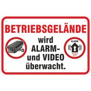 Schild Alarm und Videoüberwacht Betriebsgelände in 3 Größen Aluverbund