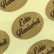 Etiketten Aufkleber Echte Handarbeit gold Sticker 25 x 18 mm Haftpapier auf Rolle, ab 500 mit Spender