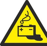 Aufkleber Warnung vor Gefahren durch das Aufladen von Batterien W026
