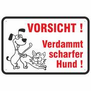 Schild Vorsicht verdammt scharfer Hund verboten 3mm Aluverbund 3 Größen