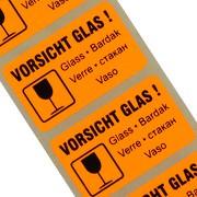 """Etiketten """"Vorsicht Glas / zerbrechlich"""" 5-sprachig Haftpapier 38 x 23 mm leuchtend orange"""