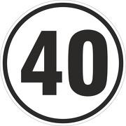 40 km/h Aufkleber Auto LKW Trecker Anhänger Schlepper 20 cm rund wetterfest