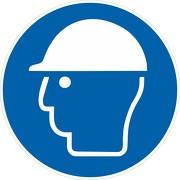 Aufkleber Kopfschutz / Helm benutzen M014