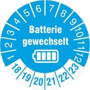 Batterie gewechselt Prüfetiketten / Prüfplaketten 30 mm rund 2018-23