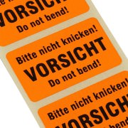 Etiketten BITTE NICHT KNICKEN / Vorsicht do not bend Haftpapier 38 x 23 mm leuchtend orange
