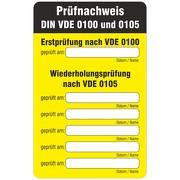 Aufkleber / Etikett / Prüfetikett VDE 0100 Prüfnachweis 80 x 125 mm ablösbar