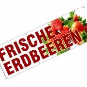 Frische Erdbeeren Spannbanner Banner Werbebanner Poster 3 x 1 Meter