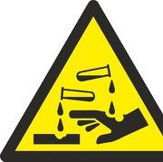 Aufkleber Warnung vor ätzenden Stoffen W023