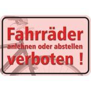 """Verbotsschild """"Fahrräder anlehnen oder abstellen verboten""""  3mm Aluminium-Verbundmaterial"""