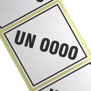 UN-Etiketten Sonderanfertigung mit Wunsch - Gefahrstoffnummer bedruckt 10 x 10 cm Haftpapier