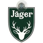 """Schild, Autoschild """"Jäger"""" mit Saugnapf, 2mm wetterfestes PVC Material 75 x 100 mm groß"""