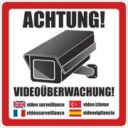 Aufkleber Achtung Video / Videoüberwachung eckig 5 Sprachen