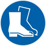 Aufkleber Fußschutz benutzen M008