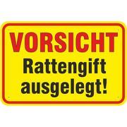Schild Vorsicht Achtung Rattengift ausgelegt 3mm Aluverbund