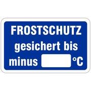 Frostschutz gesichert bis Grad Wartungsaufkleber allgemein 58 x 36 mm