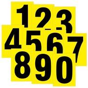 Zahlen schwarz auf gelb wetterfest als Aufkleber Klebezahlen Regalbeschriftung 80 mm