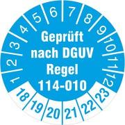 geprüft nach DGUV Regel 114-010 Prüfetiketten / Prüfplaketten 30 mm rund 2018-23