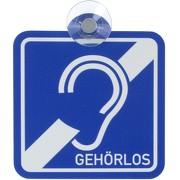 Schild Autoschild Gehörlos Taubstumm mit Saugnapf PVC wetterfest 10x10 cm Saugnapfschild