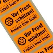 """Etiketten """"Vor Frost / Kälte schützen"""" 2-sprachig Haftpapier 38 x 23 mm leuchtend orange"""