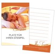 Terminkarte Kundenkarte Massage Physiotherapie Wellness 350g Karton gut beschreibbar mit Stempelfeld