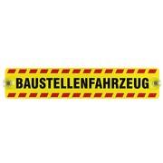 """Schild, Autoschild """"Baustellenfahrzeug"""" mit Saugnapf, 2mm PVC wetterfest 400 x 80 mm"""