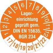 "Prüfplakette ""Lagereinrichtung geprüft gem. DIN EN 15635 / BGR 234"" 2017-2022"