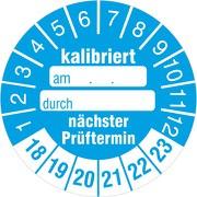 """""""Kalibriert"""" nächster Prüftermin Prüfetiketten / Prüfplaketten mit Beschriftungsfeldern 30 mm rund 2018-23"""