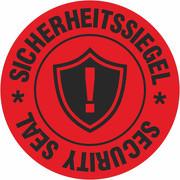 Sicherheitssiegel Garantiesiegel für Pakete Haftpapier 30 mm rund leuchtend rot mit Spenderbox