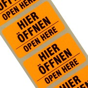 """Etiketten """"Hier öffnen"""" 2-sprachig Haftpapier 38 x 23 mm leuchtend orange"""