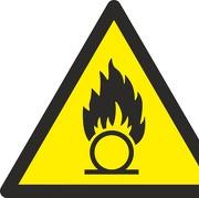 Aufkleber Warnung vor brandfördernden Stoffen W028