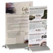Menükartenhalter mit silber-eloxiertem Aluminium-Profil und Acryl-Plakattaschen