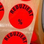 Etiketten Reduziert % Haftpapier 30 mm rund leuchtend rot zum beschriften