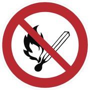 Aufkleber Keine offene Flamme, Feuer, offene Zündquelle und Rauchen verboten P003