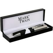 Schreibset Chrissy MAXX Mark Twain Metall mit Gravur Namen Kugelschreiber und Rollerball