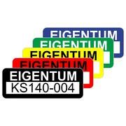 Eigentum Aufkleber Etiketten selbstklebend 48x20 mm wasser- und UV-stabil personalisierbar